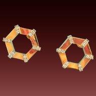 18K Gold BIRKS Cavelti Diamond Hexagonal Earrings