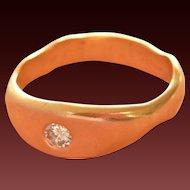 Beautiful Hand-made 14K Gold Gypsy-set Diamond Ring~ 5.8 grams