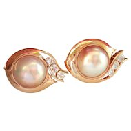 Final Markdown! Stunning 14K Gold Designer Custom Mabe Pearl 1.50 ct. Diamond Earrings
