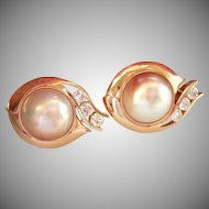 Stunning! 14K Gold Designer Custom Mabe Pearl 1.50 ct. Diamond Earrings