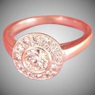 Final Markdown! 18K White Gold 0.80 ct. Diamond Target Vintage Ring