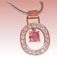 NATURAL 0.90 ct. Pink Spinel Diamond 14K Gold Vintage Pendant
