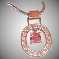 NATURAL 0.90 ct. Pink Spinel Diamond 14K Gold Vintage Pendant