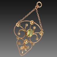 Antique 9K 9CT Gold Peridot Seed Pearl Drop Pendant