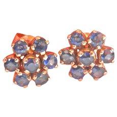 Final Markdown! 18K Gold 1.40 ct. Blue Sapphire Flower Cluster Earrings