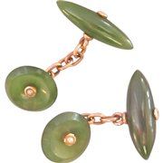 Victorian 9K 9CT Rose Gold Antique Nephrite Jade Seed Pearl Cufflinks