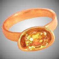 18K Gold Toni Cavelti Design Fancy Yellow Sapphire Vintage Ring