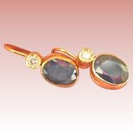 18K Gold 2.00 cts. Sapphire Diamond Vintage Drop Earrings