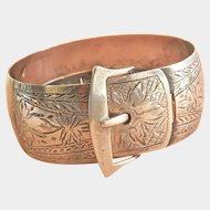 Art Deco Engraved Silver Buckle Bracelet, signed ECCO