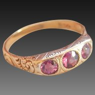 14K Scrolled Rhodolite Garnet 3-Stone Antique Ring