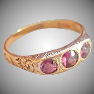 14K Scrolled Rhodolite Garnet 3-Stone Antique Ring