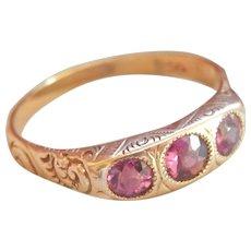 Final Markdown! 14K Scrolled Rhodolite Garnet 3-Stone Antique Ring