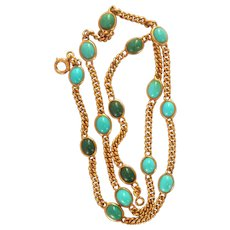 14K Gold Antique Turquoise Cab Station Necklace