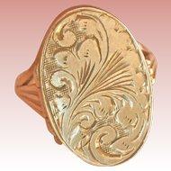 Engraved 9K Gold Vintage Heavy Locket Pinky Ring