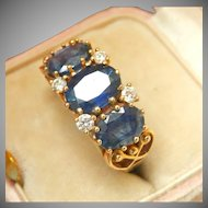 9K 9CT 3-Stone Natural Sapphire Diamond Vintage Ring