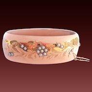 Antique Wide 18K Rose Gold Seed Pearl Hinged Bracelet