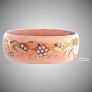 Antique Wide 18K Rose Gold Seed Pearl Hinged Bracelet