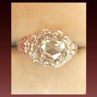 Antique 14K Gold Rhodium .38CT Rose-Cut Diamond Ring