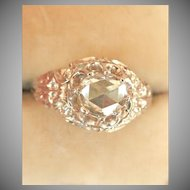 Antique 14K Gold Rhodium .38CT Rose-Cut Diamond Ring