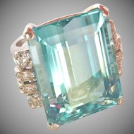 Amazing Large 30.00 ct. Natural Aquamarine Diamond Cocktail Ring