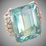 Amazing Large 30.00 ct. Natural Aquamarine Diamond Cocktail Ring