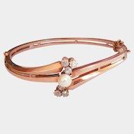 Antique Imperial Russian Pre-Revolution 14K Gold Pearl Diamond Bracelet