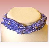 14K Gold Long Tanzanite Diamond Torsade Necklace