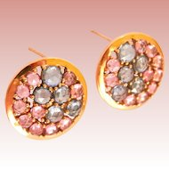 14K Rose Gold 5.90 cts. Natural Sapphire Cluster Earrings
