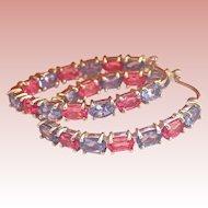 14K White Gold Tanzanite Sapphire Inside Out Hoop Earrings