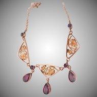 Art Nouveau 9K 9CT Amethyst Floral Antique Drop Pendant