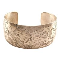 Final Markdown! Handmade Nancy Dawson Eagle and Whale Sterling Cuff Bracelet