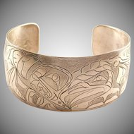Handmade Pacific Northwest First Nations Nancy Dawson Eagle and Whale Sterling Cuff Bracelet