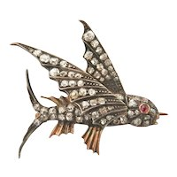 Antique Victorian 2.00 CTW. Diamond Ruby Flying Fish Pin