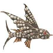 Antique Victorian 2.00 CTW. Diamond Ruby Flying Fish Pin
