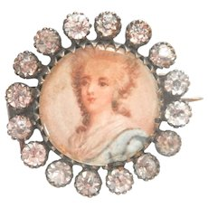 Final Markdown! Antique Portrait French Paste Pin Brooch