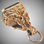 9K 9CT Yellow Ornate Gold Bloodstone Watch Fob Pendant