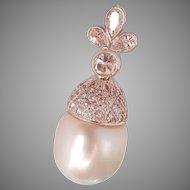 18K White Gold 16 mm South Sea Pearl 1.50 cts. Diamond Vintage Pendant