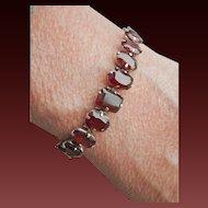 Victorian 8.75 ct. Garnet Silver Antique Bracelet