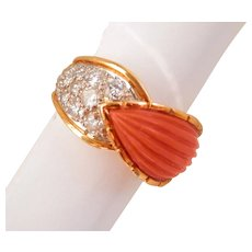 18K Gold Carved Coral 0.50 ct. Diamond Vintage Ring
