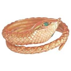 18K Gold Emerald Carved Snake Ring