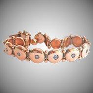 Antique 10K Yellow Gold Natural Sapphire Link Victorian Bracelet