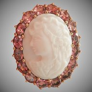 Large 9K 9CT Gold Shell Cameo Pink Sapphire Vintage Ring