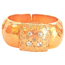 Heavy 155.5 gm Vintage 18K Gold Custom 2.30 ct. Diamond Glycine Watch Bracelet