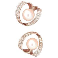 Vintage 14K White Gold Akoya Pearl Diamond Swirl Earrings