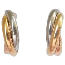 Authentic CARTIER 18K Gold Tri-colour Trinity Hoop Earrings