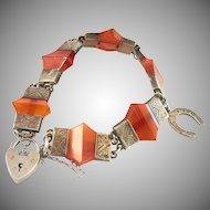 Antique Scottish Banded Agate Silver Charm Padlock Bracelet