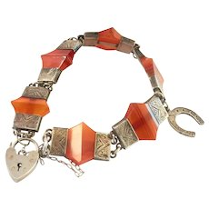 Antique Scottish Banded Agate Silver Charm Padlock Bracelet