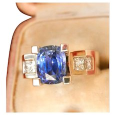 18K White Gold Heavy 2.64 ct. Natural Sapphire Diamond Ring
