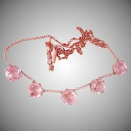 Final Markdown! Victorian 9K Rose Gold 5-Stone Amethyst Antique Necklace