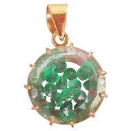 Unusual 18K Gold Emerald and Quartz Vintage Pendant